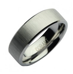 7mm Cobalt Satin Designed Wedding Ring Band