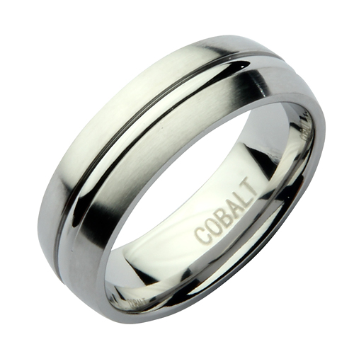 7mm Cobalt Court  Groove Wedding Ring Band