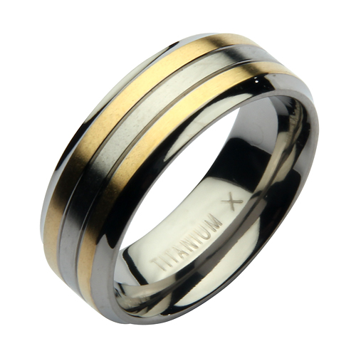 SALE 8mm Titanium Two Tone Wedding Ring Band