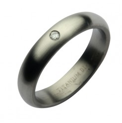 5mm Titanium Brushed Matt Diamond Wedding Band