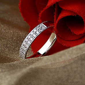 3.5mm Palladium Diamond Eternity Wedding Ring