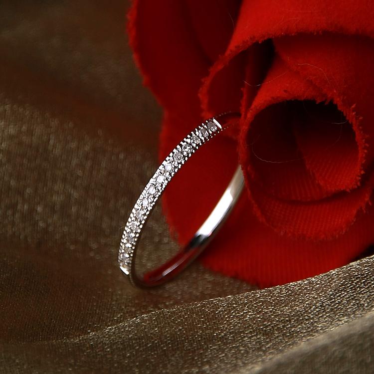 1.5mm Palladium Diamond Eternity Wedding Rings