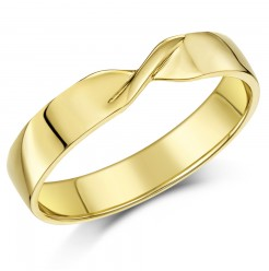 4mm 9ct Yellow Gold Crossover Wedding Ring Band