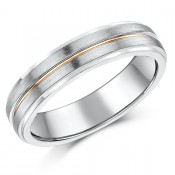 5mm 9ct White & Rose Gold Wedding Ring Band \'Sale Limited Stock\'