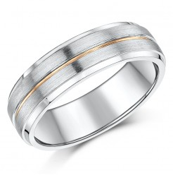 6mm 9ct Two Colour Gold Court Shape Wedding Ring