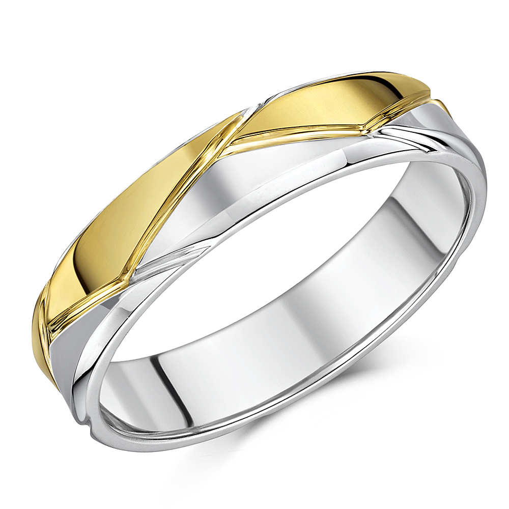 5mm Silver & 9ct Yellow Gold Patterned Wedding Ring