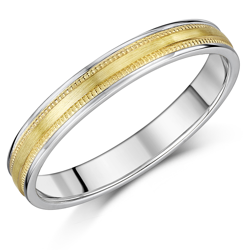 3mm Delicate Yellow & White Gold 9ct Duo Milgrain Wedding Band