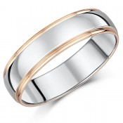 6mm Rose Gold & Sterling Silver 9ct Court-Shaped Wedding Ring
