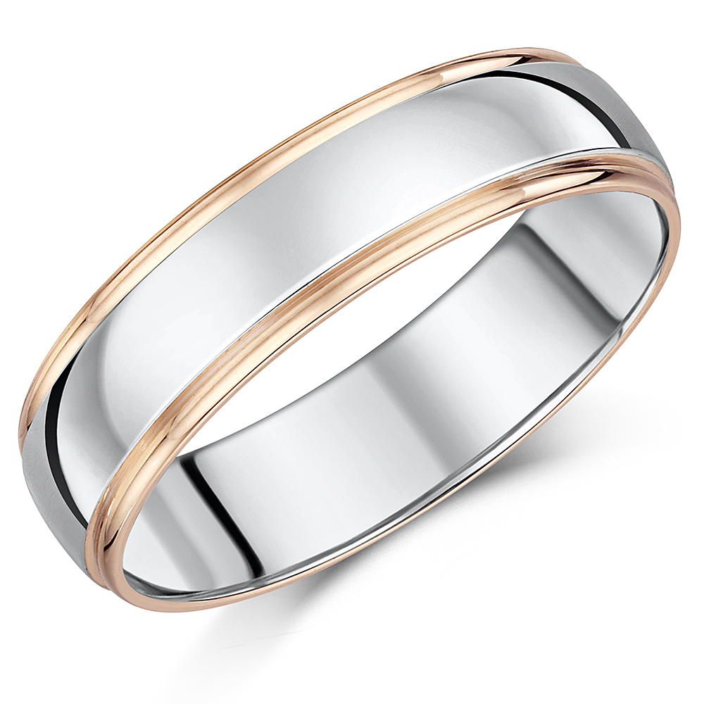 6mm 9ct Rose Gold & S Silver Wedding Ring