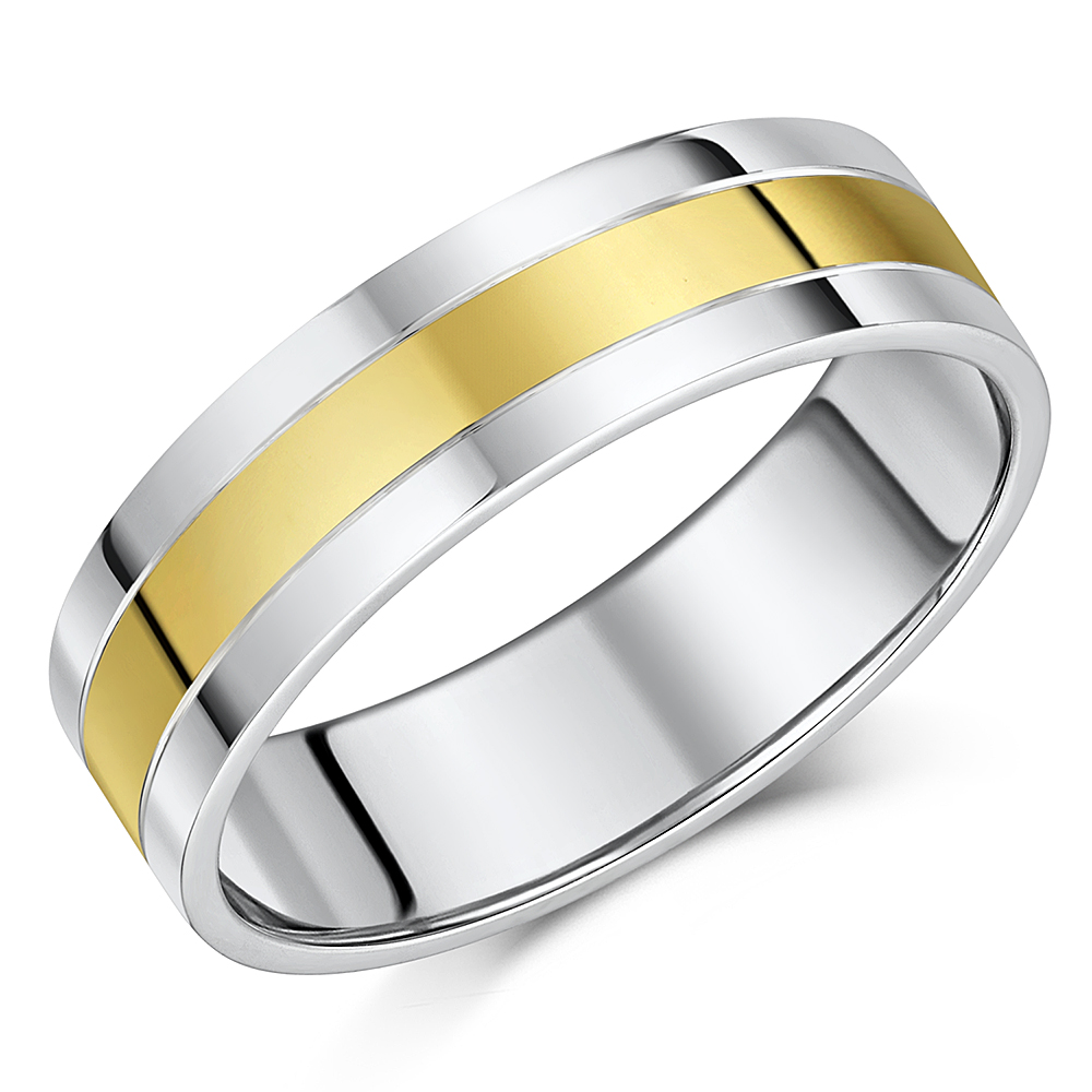 6mm Silver & 9ct Yellow Gold Wedding Ring