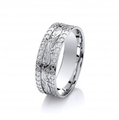 6mm 9Ct White Gold Diamond Cut Effect Patterned Wedding Ring