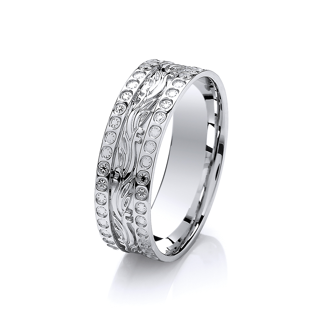 6mm 9Ct White Gold Diamond Cut Effect Patterned Wedding
