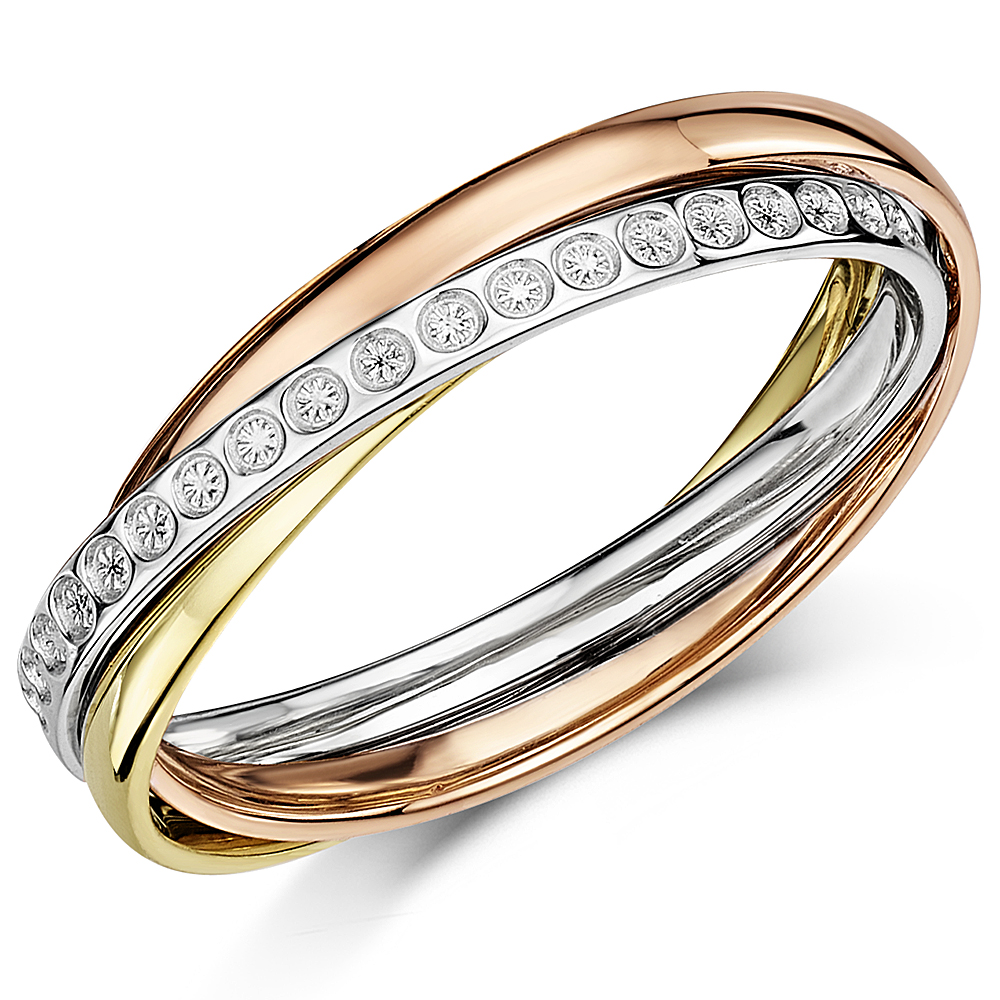 4mm 9Ct 3 Colour Gold Diamond Cut Effect Russian Style Wedding Ring