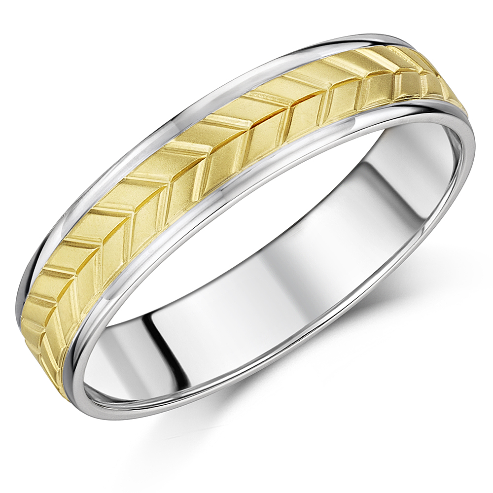 5mm White & Yellow Gold 9ct Wedding Ring Duo With Chevron Engraving