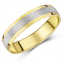 5mm 9ct Yellow & White Gold Wedding Ring Band