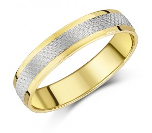 5mm Yellow & White Gold Textured 9ct Court-Shaped Wedding Band