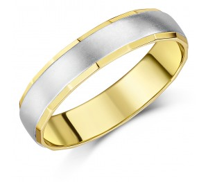 5mm Two Colour 9ct Yellow Gold & White Gold Wedding Ring Band