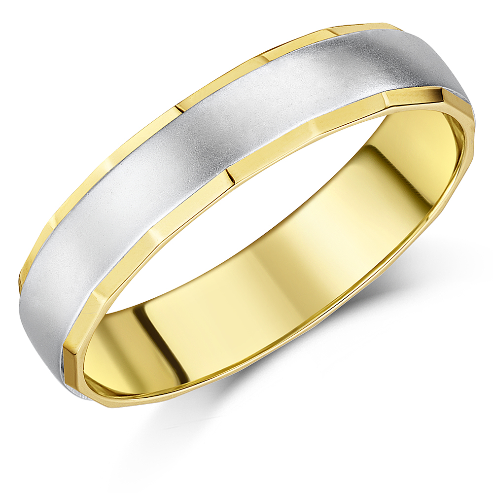 5mm Two Colour 9ct Yellow & White Gold Angled Wedding Ring