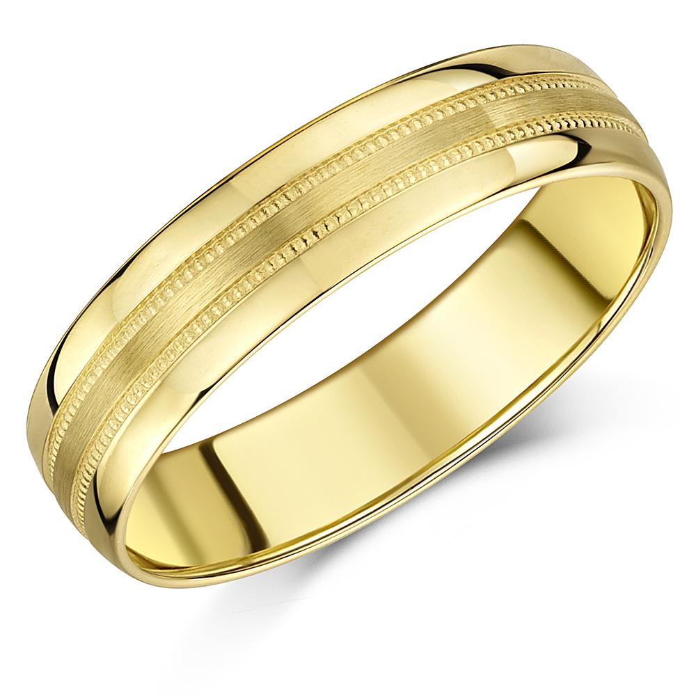 5mm Yellow Gold Brushed Matt & Milgrain 9ct D-Shaped Wedding Band