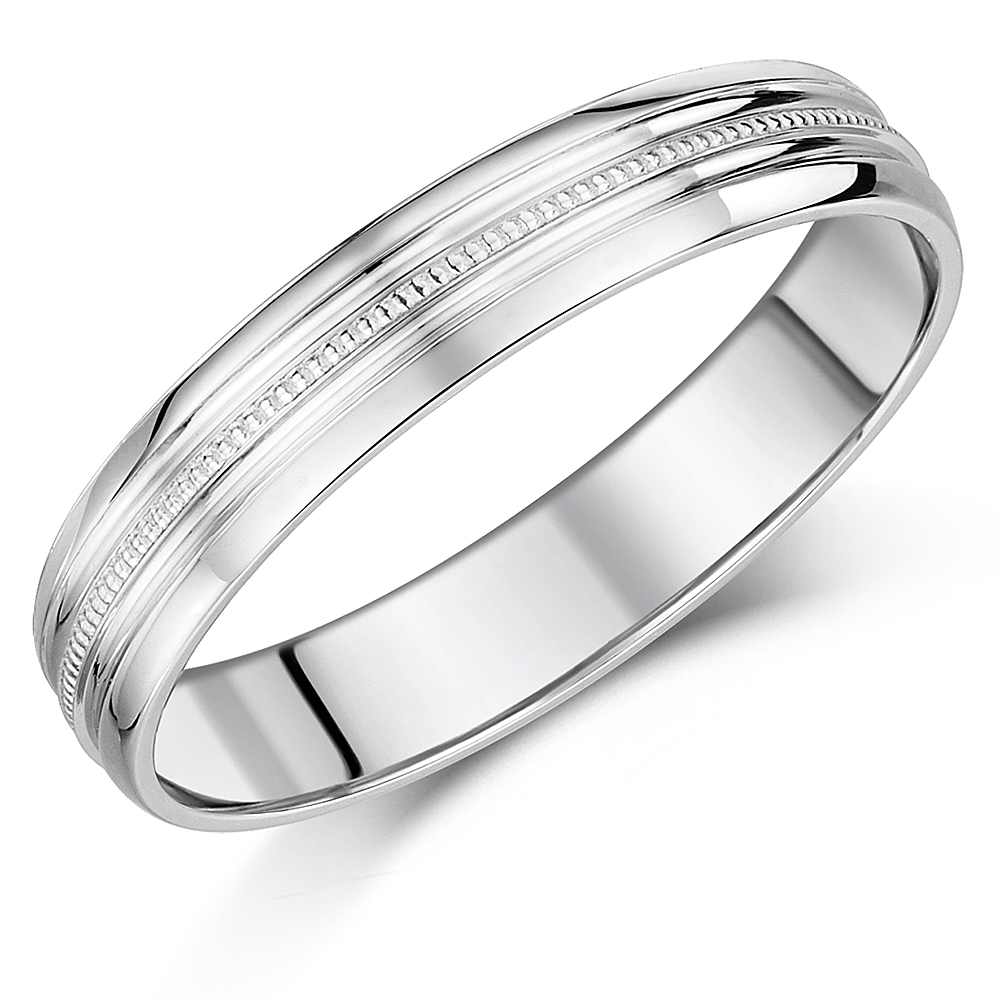 5mm White Gold 9ct Milgrain Centre D-Shaped Wedding Band