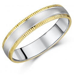 5mm Yellow Gold & Sterling Silver 9ct Wedding Ring with Indented Edging