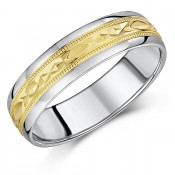 6mm Geometric Engraving 9ct Yellow Gold & Sterling Silver Wedding Ring