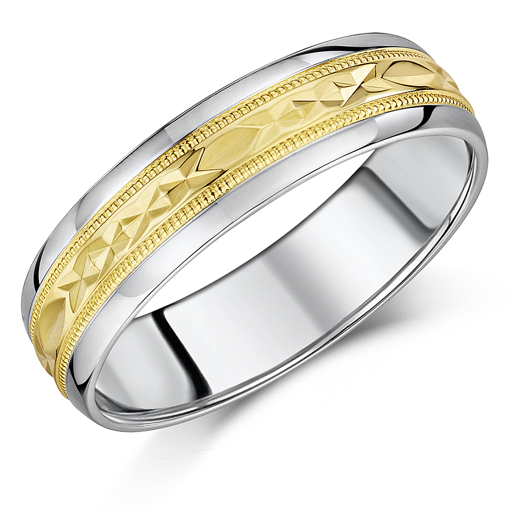 6mm 9ct Yellow Gold & S Silver Wedding Ring