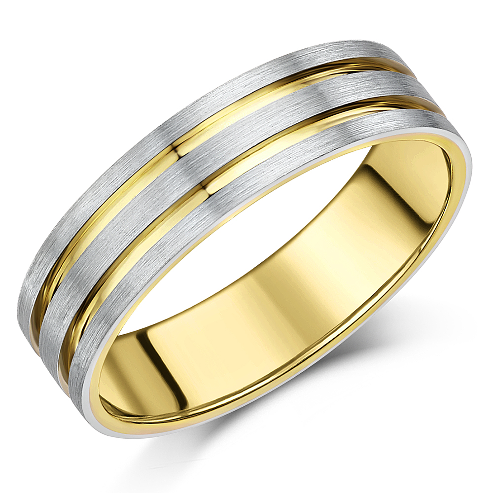 6mm Men's Palladium 950 and 9ct Yellow Gold 6mm Two Tone Ring