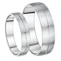His & Hers 5&6mm Palladium Matt & Polished Grooved Wedding Ring