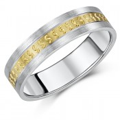 6mm 9ct Yellow Gold & S Silver patterned Wedding Ring