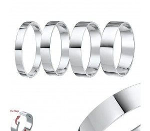 "Palladium ""Flat Court"" Shaped Wedding Ring Band"