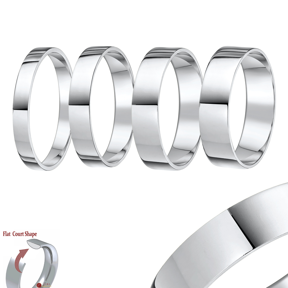 Platinum Rings and Wedding Bands Classic Platinum Plain Engagement
