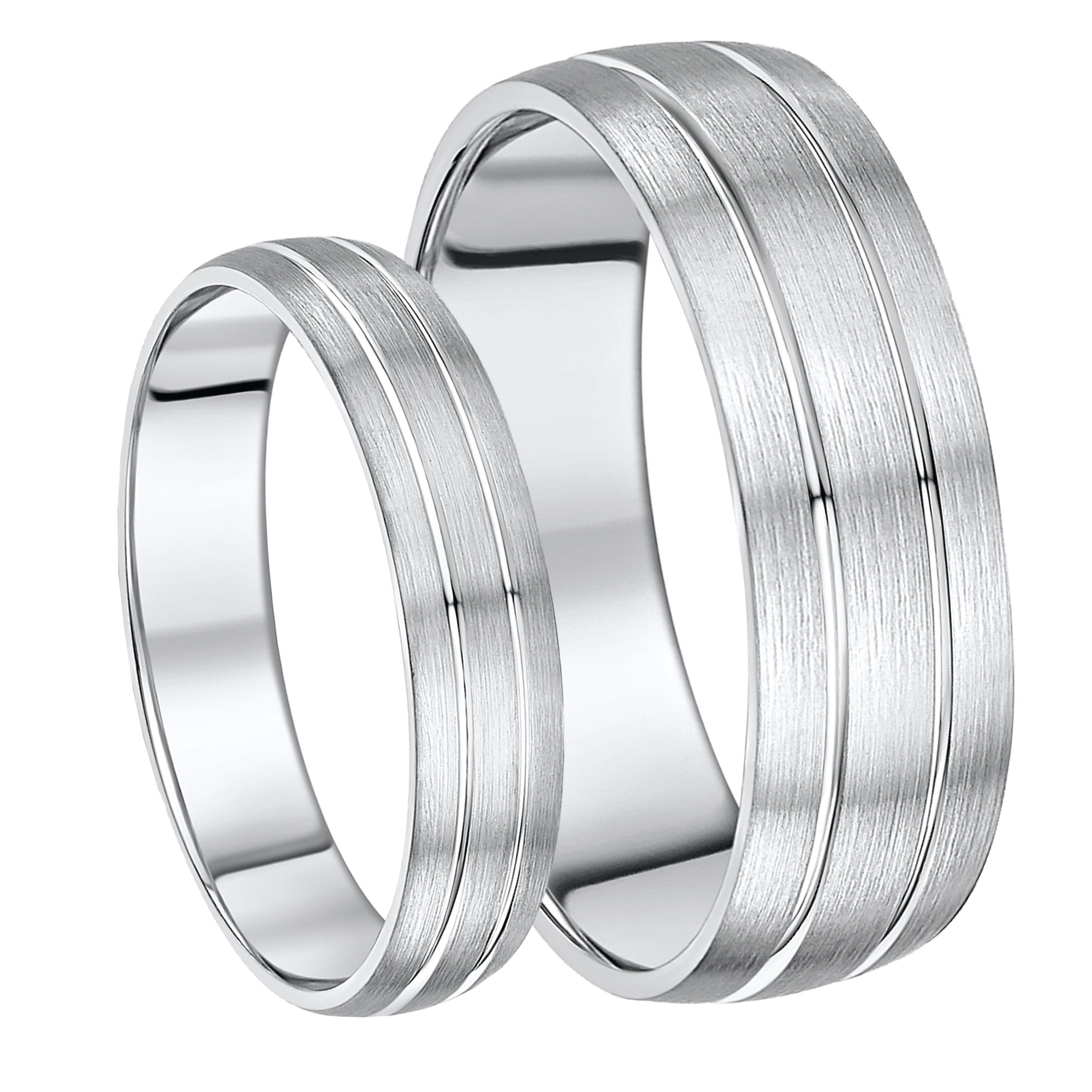 Palladium Double Grooved His & Hers 5&7 Wedding Ring Bands