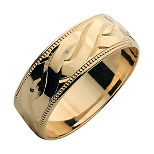6mm 9ct yellow Gold Hand Engraved Celtic Design Wedding Ring