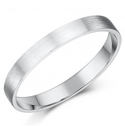 3mm Brushed Matt Flat Court Sterling Silver Wedding Ring