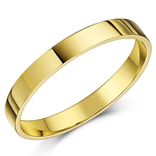 9ct Yellow Gold Flat Court Shaped Wedding Ring Band