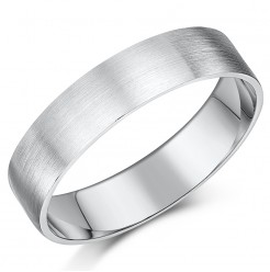 5mm Brushed Matt Flat Court Sterling Silver Wedding Ring