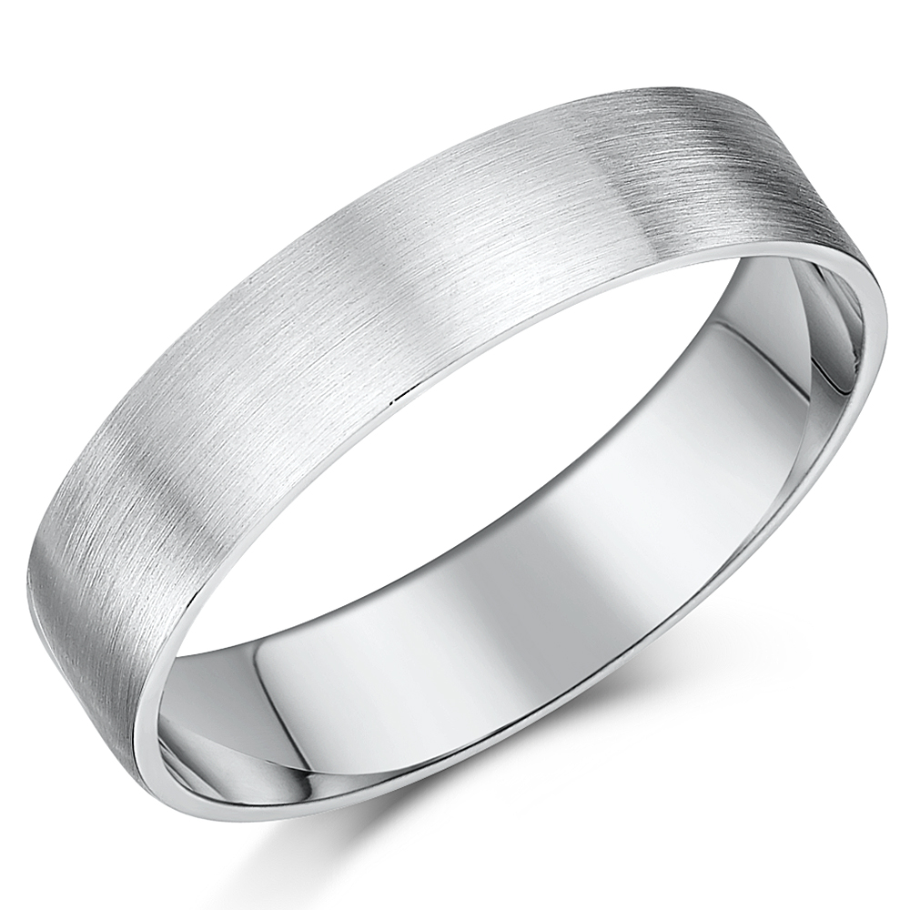 5mm Brushed Matt Flat Court Sterling Silver Wedding Ring
