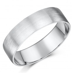 6mm Brushed Matt Flat Court Sterling Silver Wedding Ring