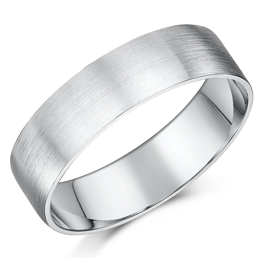 sterling silver c silver wedding ring 6mm Brushed Matt Flat Court Sterling Silver Wedding Ring