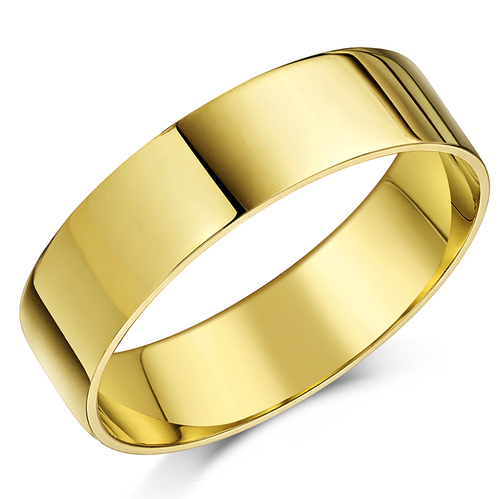 "18ct Yellow Gold ""Flat Court"" Shaped Wedding Ring Band ..."