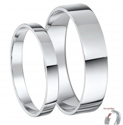 His & Hers 3&5mm Palladium Flat Court Wedding Ring Bands