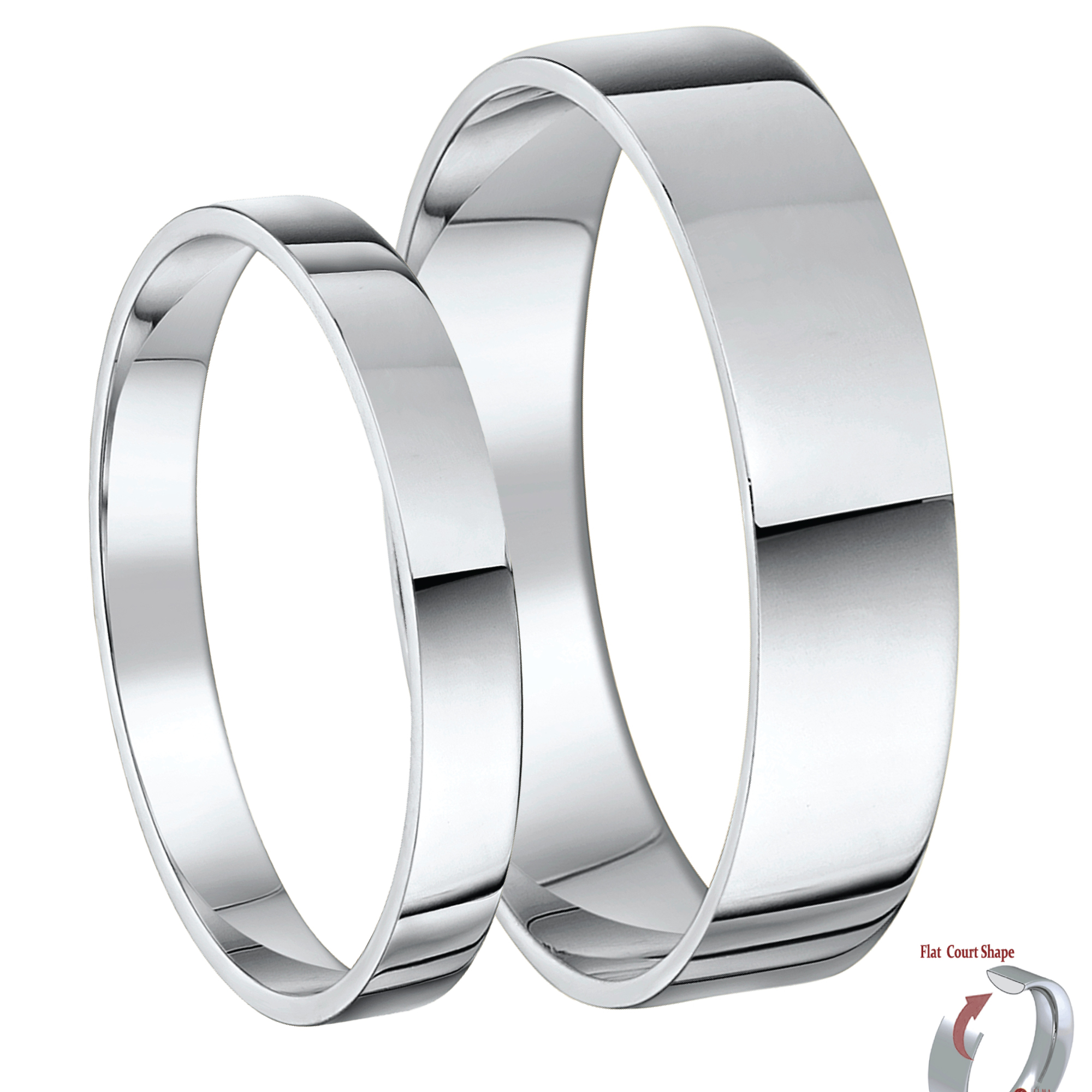 Cobalt Wedding Bands Matching His & Hers Bands Flat Court Comfort 3&5mm