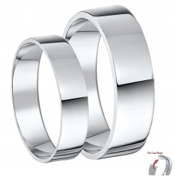 His & Hers 5&7mm Palladium 500 Flat Court Wedding Ring Bands
