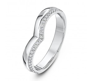 *SALE* 9 Carat White Gold Curved Wishbone Eternity Style Diamond Ring
