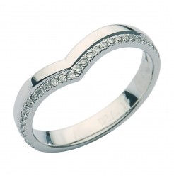 Platinum Curved Wishbone Eternity Style Diamond Ring