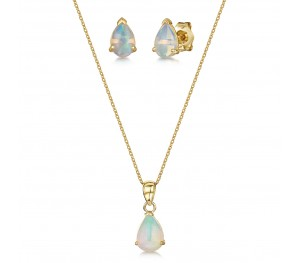 9ct Yellow Gold Opal 18'' Chain Pendant & Stud Earrings Set