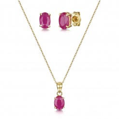9ct Yellow Gold 18'' Chain Pendant & Stud Earrings Oval Ruby Claw Set