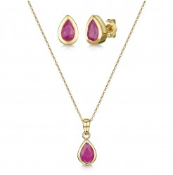 9ct Yellow Gold Ruby Set 18'' Chain Pendant & Stud Earrings Set
