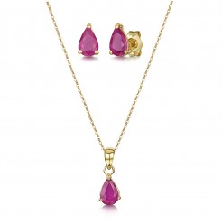 9ct Yellow Gold 18'' Inch Chain Pendant & Stud Earrings Ruby Claw Set